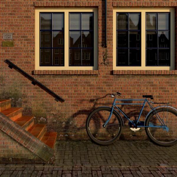 Fachada con bicicleta
